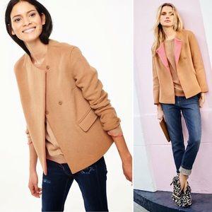 Boden Ella wool swing jacket tan pink snap plus 18
